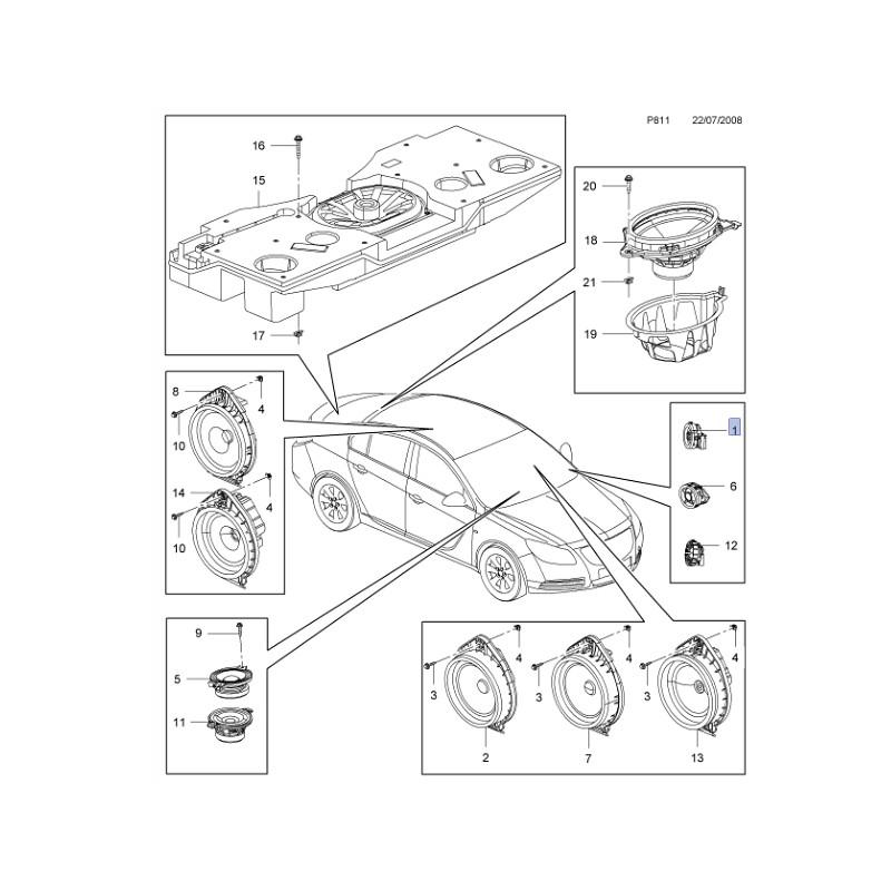 Głośnik wysokotonowy przedni 13240950 (Adam, Ampera, Astra