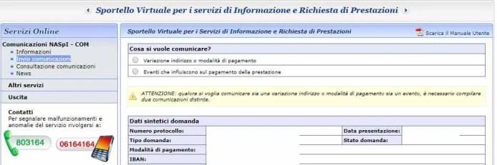 Variazione indirizzo e modalità di pagamento Naspi