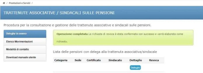 Revoca delega sindacale su pensione