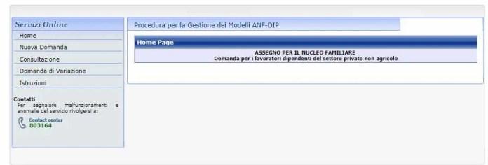 Servizi online Modello ANF Inps dipendenti privati