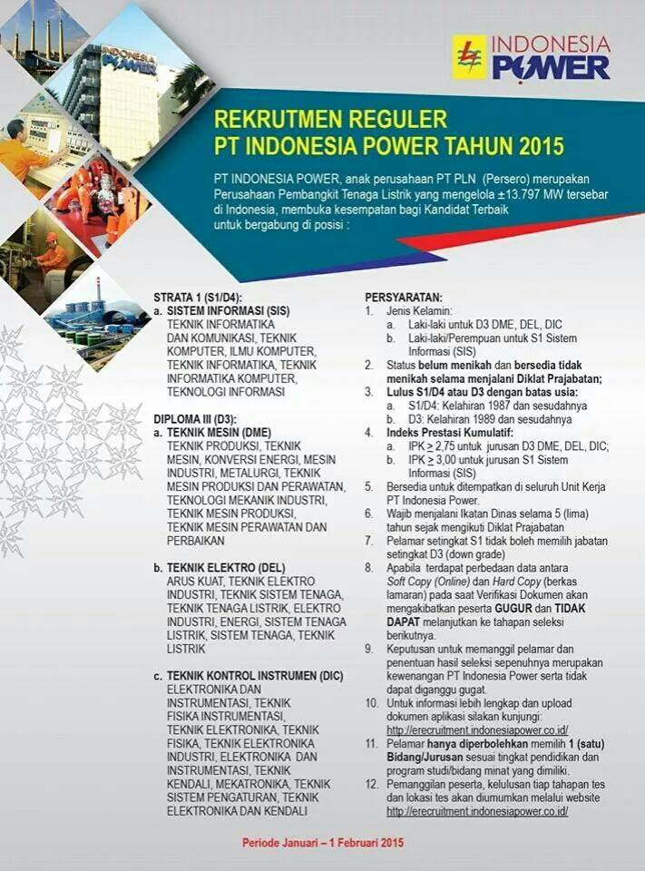 Lowongan Kerja Pt Indonesia Power Rekrutmen Reguler