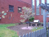 The mulched pathway lined with red brick leads to a tree-stump storytime area that everyone in the school uses.