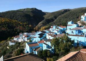 Blue village in autumn
