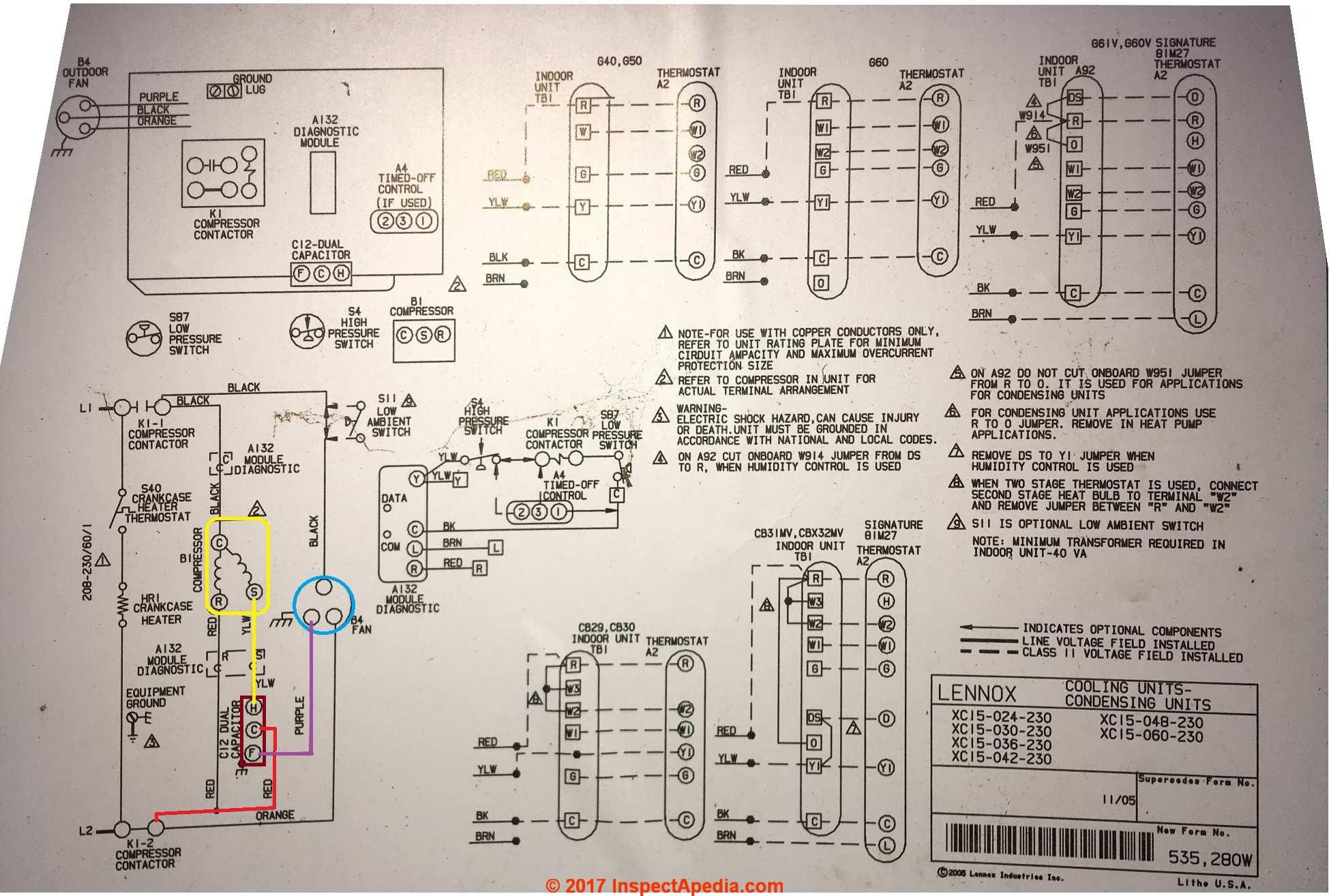 lennox wiring diagrams ezgo diagram electric golf cart motor starting and run capacitor types