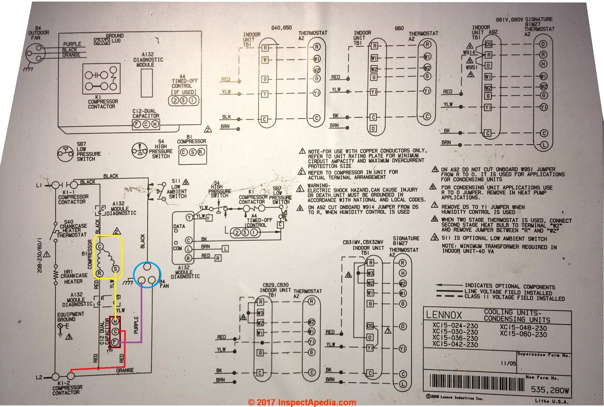 hight resolution of lennox xc15 condenser unit wiring diagram c inspectapedia com showing capacitor connections