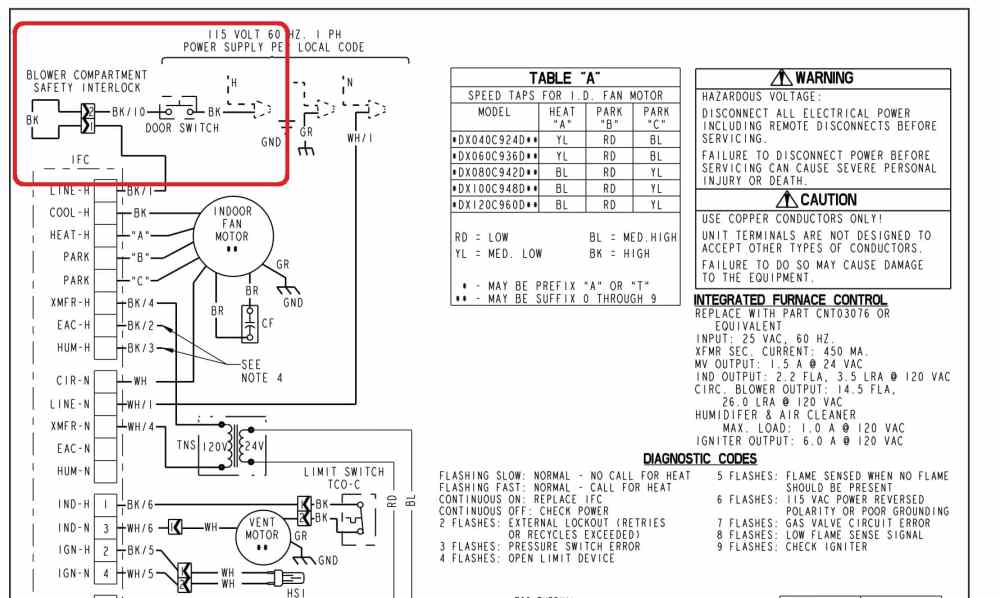 medium resolution of trane blower compartment door switch wiring c inspectapedia trane com