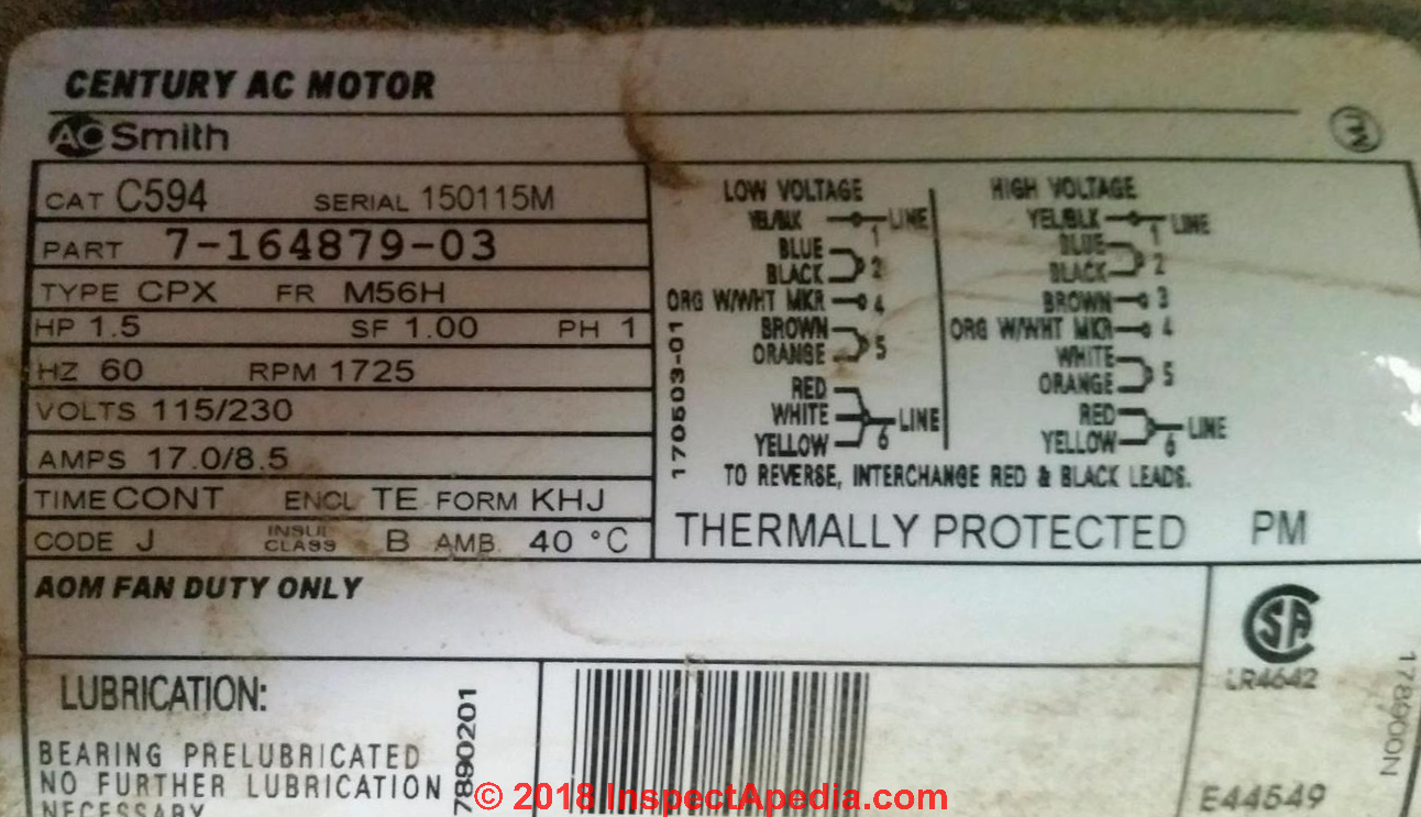 hight resolution of motor data tag for an ao smith electric motor c inspectapedia com