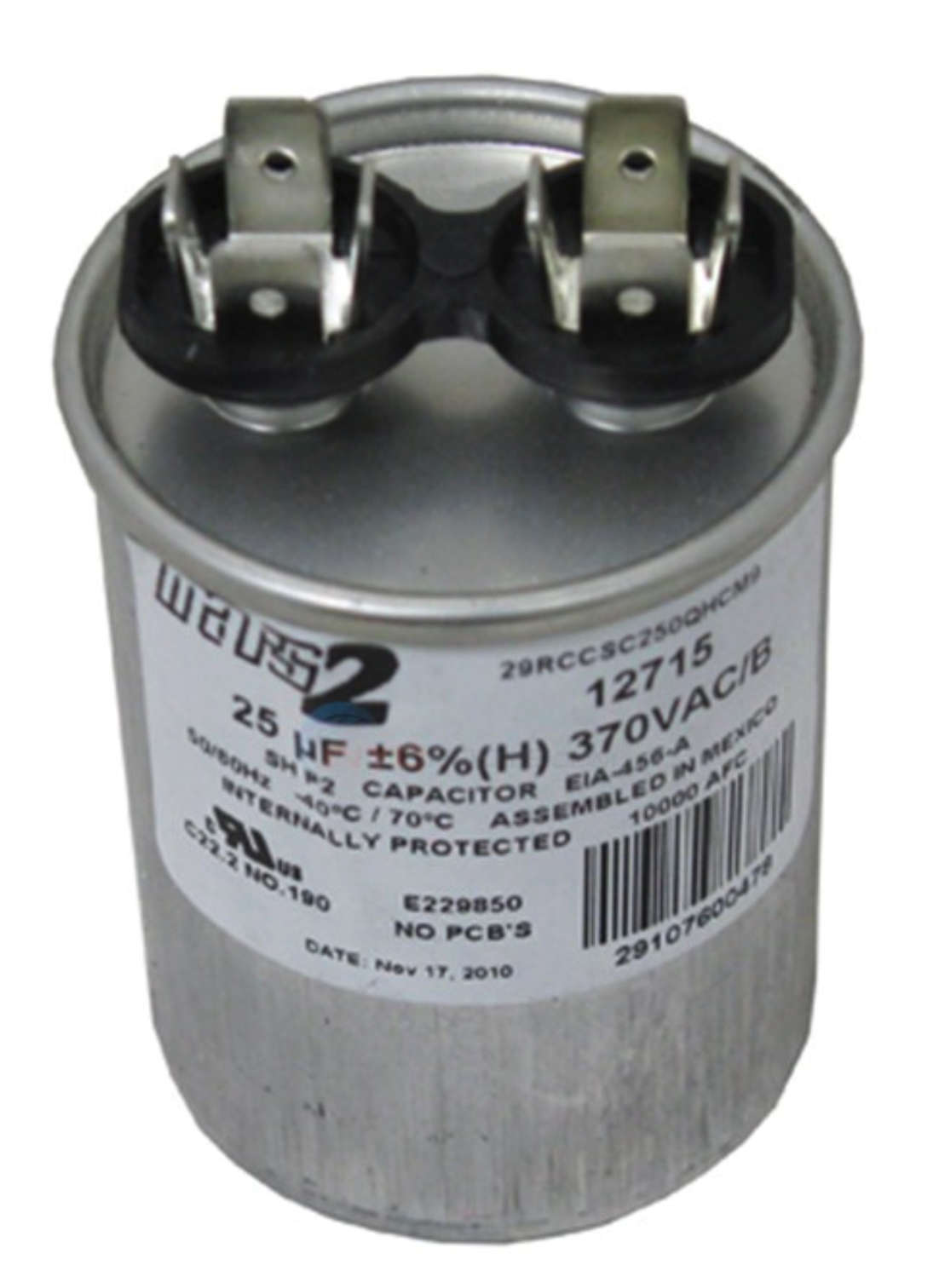 hight resolution of ao smith or other motor replacement capacitor 25mfd 370v 628318 307 at inspectapedia