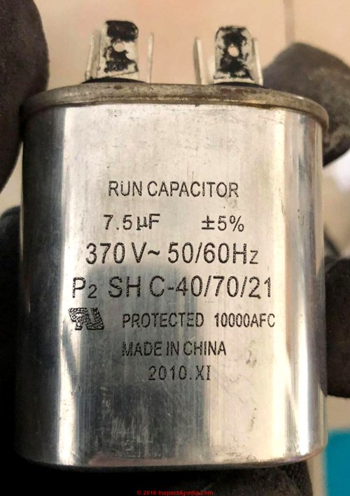 small resolution of run capacitor rated at 7 5 microfarads c inspectapedia com robert