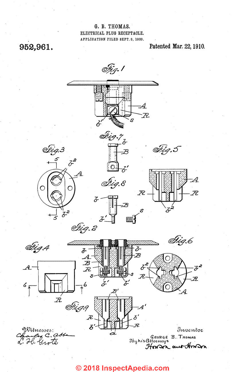 hight resolution of thomas electrical plug in receptacle patent 952 961 from 1910 at inspectapedia com