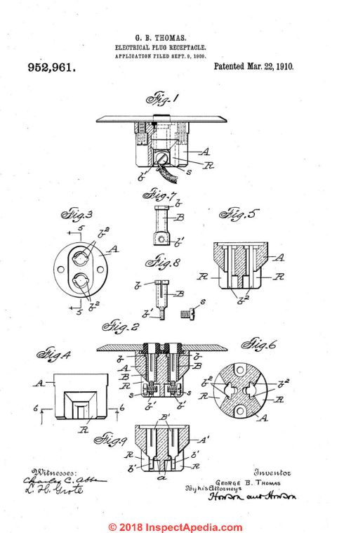 small resolution of thomas electrical plug in receptacle patent 952 961 from 1910 at inspectapedia com