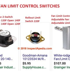 types of furnace fan limit control switches c inspectapedia com [ 1662 x 762 Pixel ]