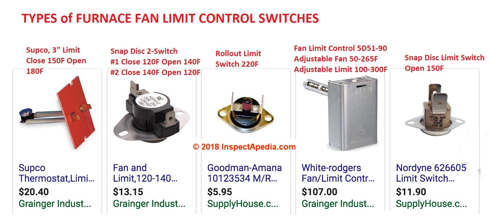 hight resolution of types of furnace fan limit control switches c inspectapedia com