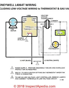 Honeywell    fan limit control wiring including low voltage wires ford  gas valve also how to install  wire the controls on furnaces rh inspectapedia