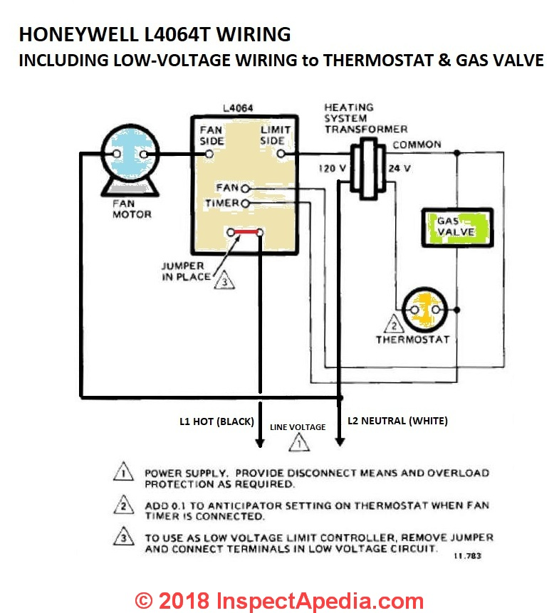 diagram motor control wiring asco 165 transfer switch how to install wire the fan limit controls on furnaces honeywell l4064b l4064t including low voltage wires ford a gas valve