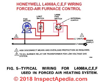 limit switch wiring diagram flat trailer connector how to install wire the fan controls on furnaces honeywell l4068 at inspectapedia com