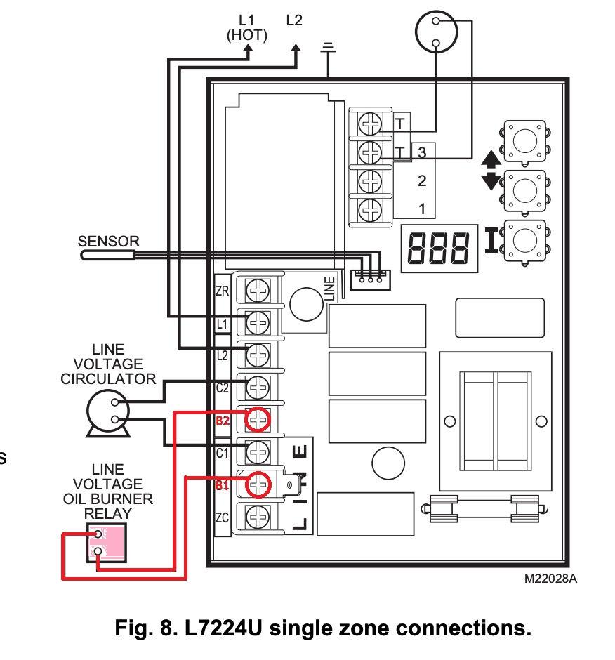 Honeywell L7224U Universal Oil Heating Boiler Electronic