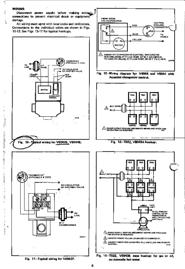 line voltage thermostat wiring diagram 1969 john deere 140 zone valve installation instructions guide to heating see this image for detailed diagrams honeywell valves v8043a v8043e v8043f t822