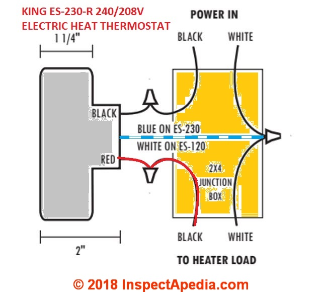 electric hot water heater thermostat wiring diagram 1979 corvette radio line voltage thermostats for heating cooling king es 230 208 240vac room heat simple