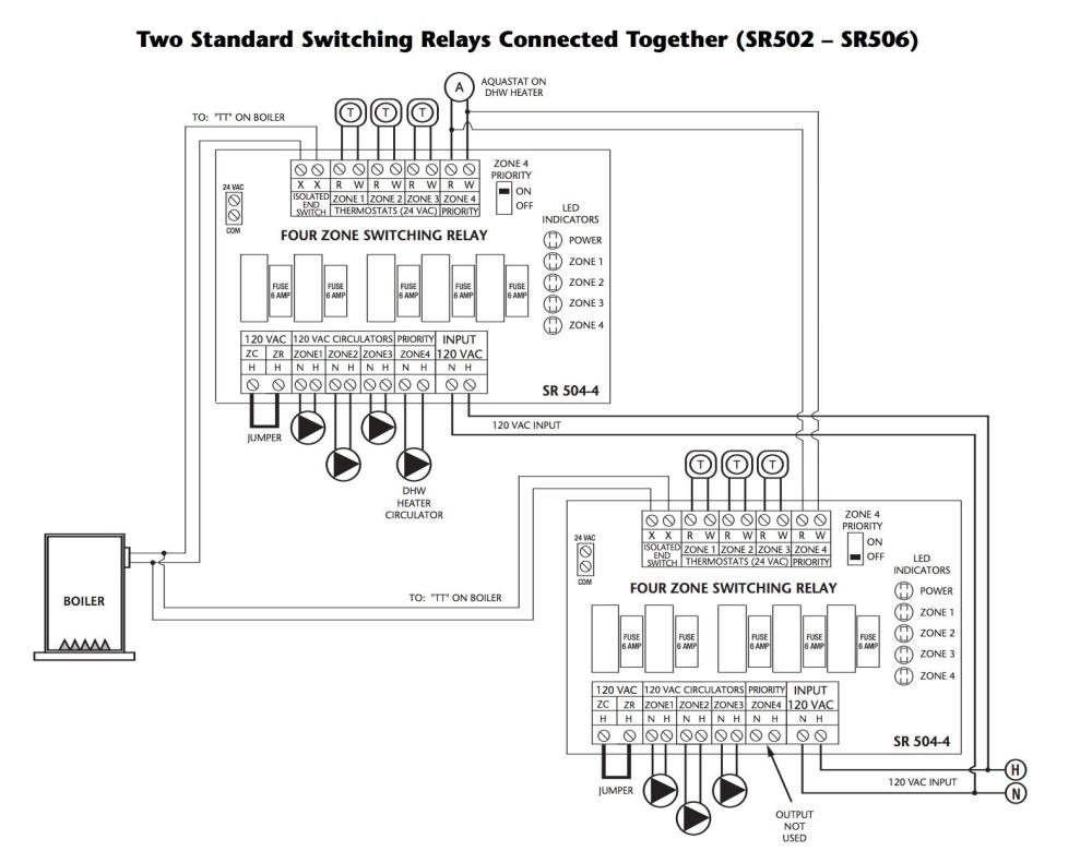 medium resolution of how to wire two taco switching relays in series to control up to 8 heating zones