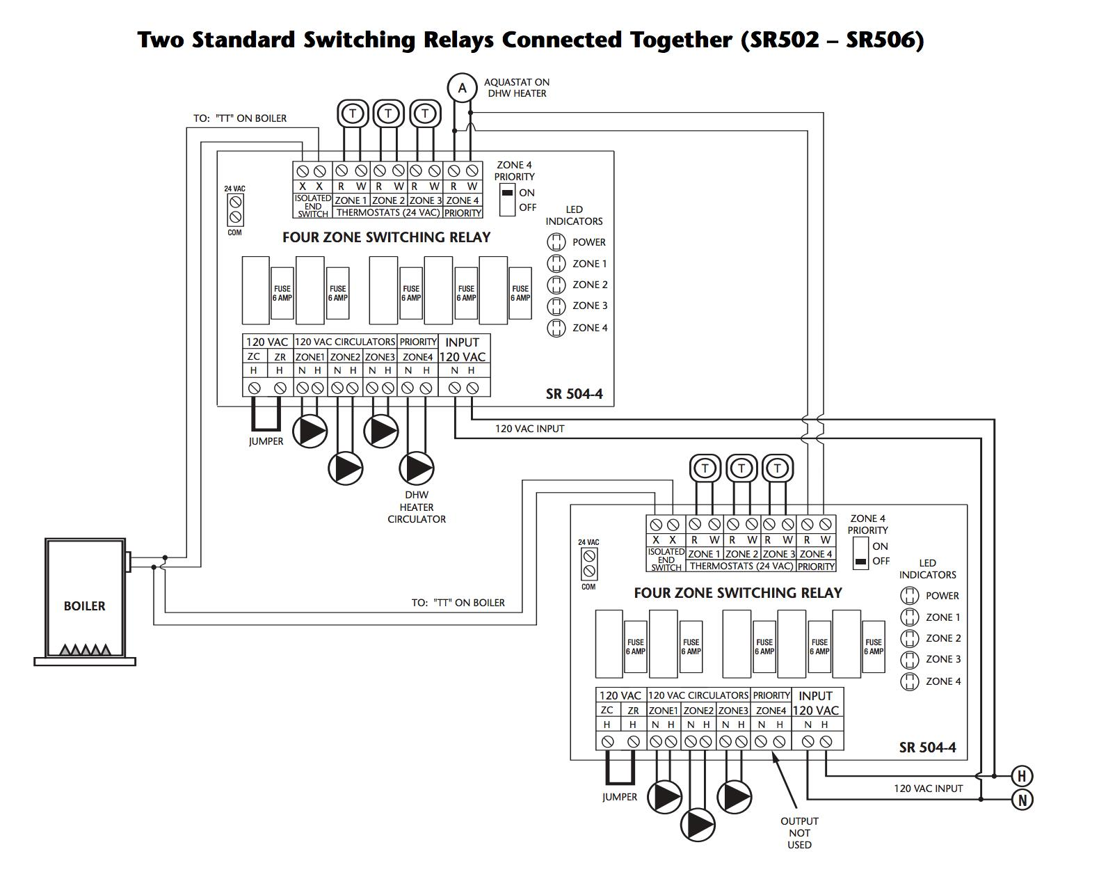 hight resolution of how to wire two taco switching relays in series to control up to 8 heating zones