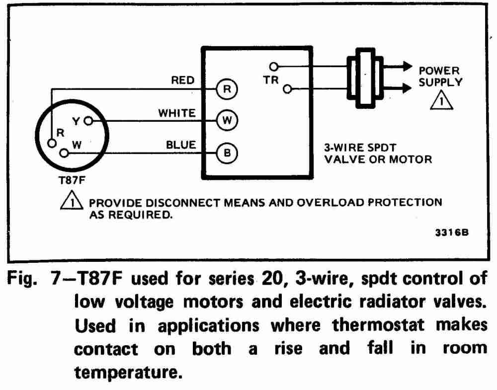 medium resolution of 3 wire spdt honeywell t87f thermostat wiring diagram