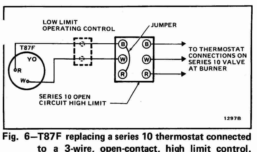 medium resolution of 3 wire high limit honeywell t87f thermostat wiring diagram