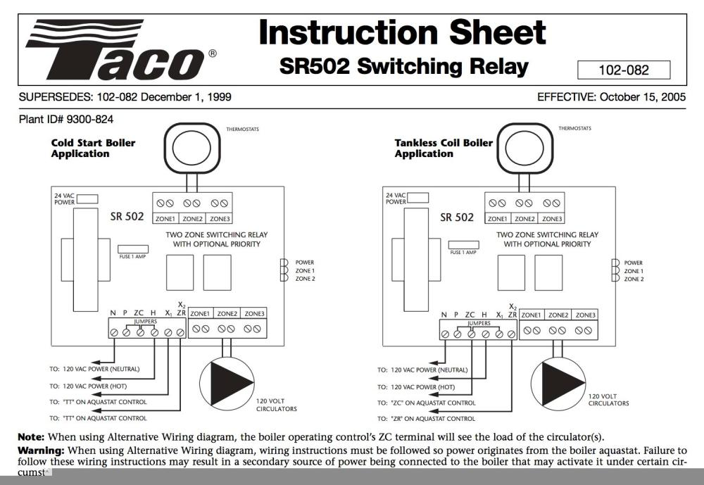 medium resolution of taco sr502 two zone switching relay wiring chart at inspectapedia com
