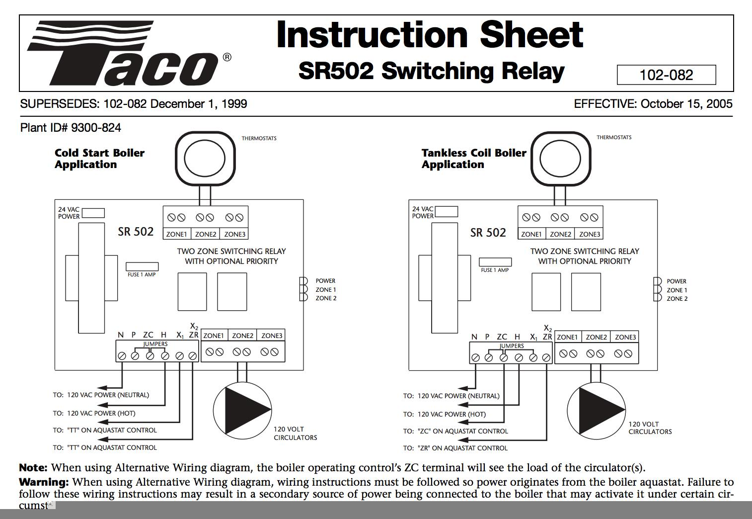 hight resolution of taco sr502 two zone switching relay wiring chart at inspectapedia com