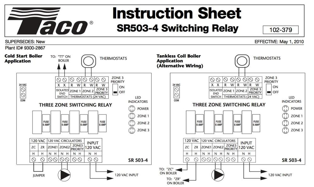 medium resolution of zone valve wiring installation u0026 instructions guide to heatingtaco sr503 three zone switching relay wiring
