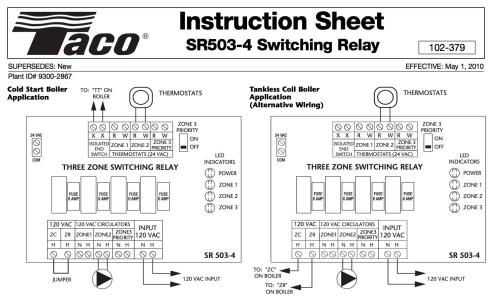 small resolution of zone valve wiring installation u0026 instructions guide to heatingtaco sr503 three zone switching relay wiring