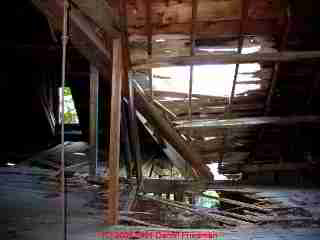 Photograph of  severe roof structure damage from an unattended roof valley leak in a historic home.