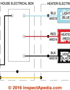 Wiring details for  fan heater light combination adapted from delta breez model rad  installation instrucations also guide to installing bathroom vent fans rh inspectapedia