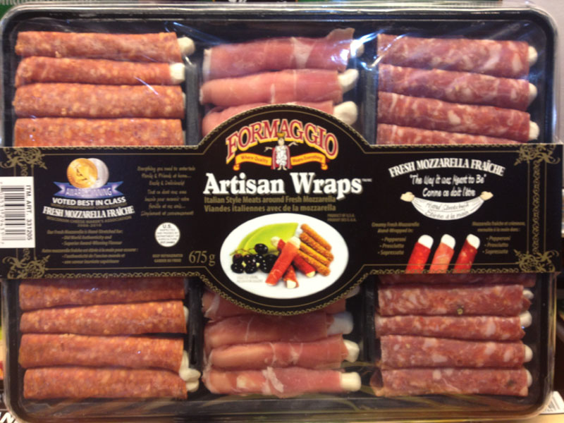 Formaggio brand Artisan Wraps Italian Style Meats around Fresh Mozzarella - Label