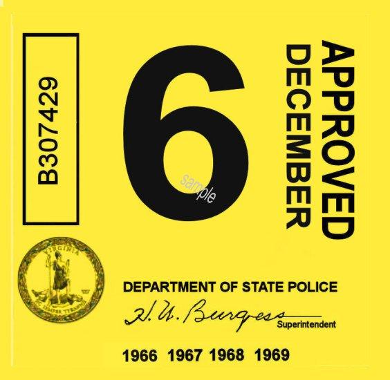 1966 69 Virginia Inspection Sticker