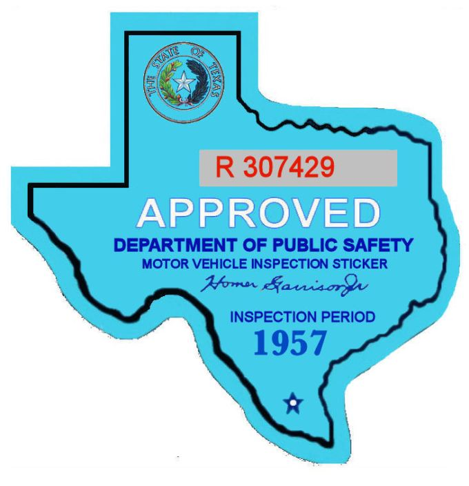 1957 Texas Inspection Sticker 25 00 Bob Hoyts Classic