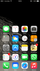 Pantalla iPhone 6 después de activar Reachability