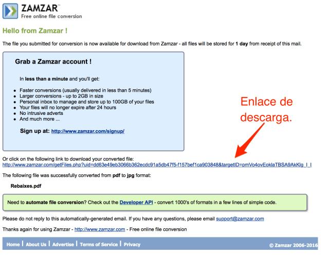 conversor de archivos online _ ejemplo del mail con el enlace para descargar el archivo