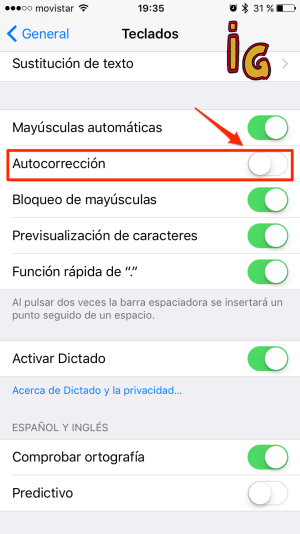 corrector -desactivar autocorrector