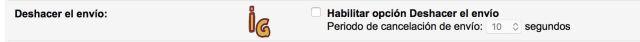 deshacer envío en gmail