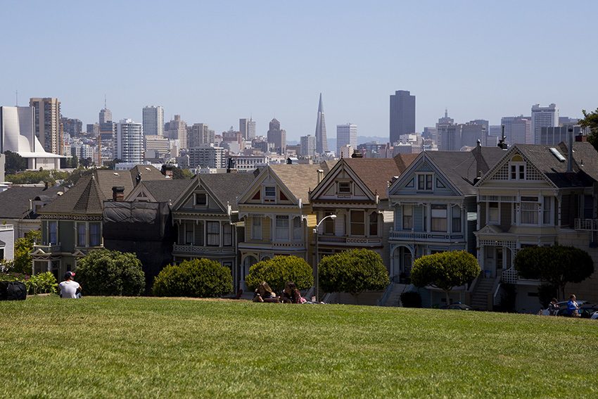 San Francisco uitzicht Painted ladies en stad