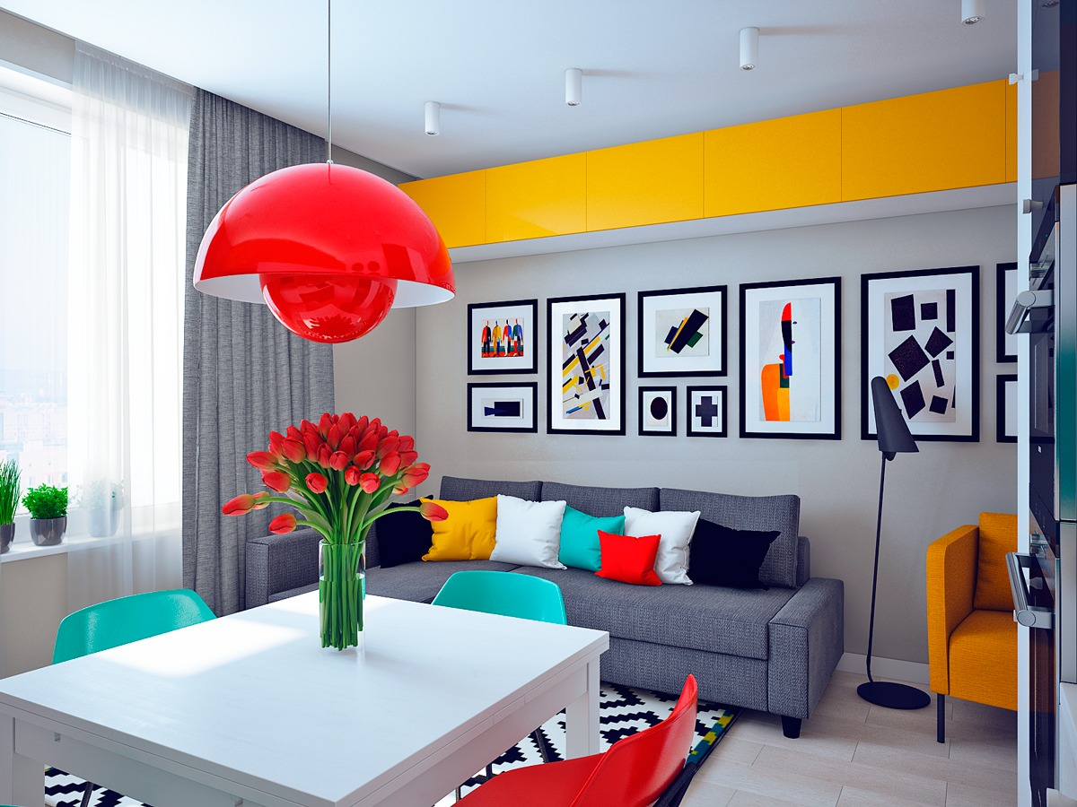 interior architecture with colorful modern decoration