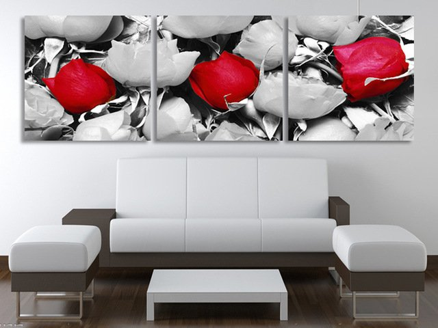 3 panels wall art rose design for front wall design