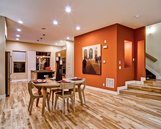 orange wall combination with wooden floor