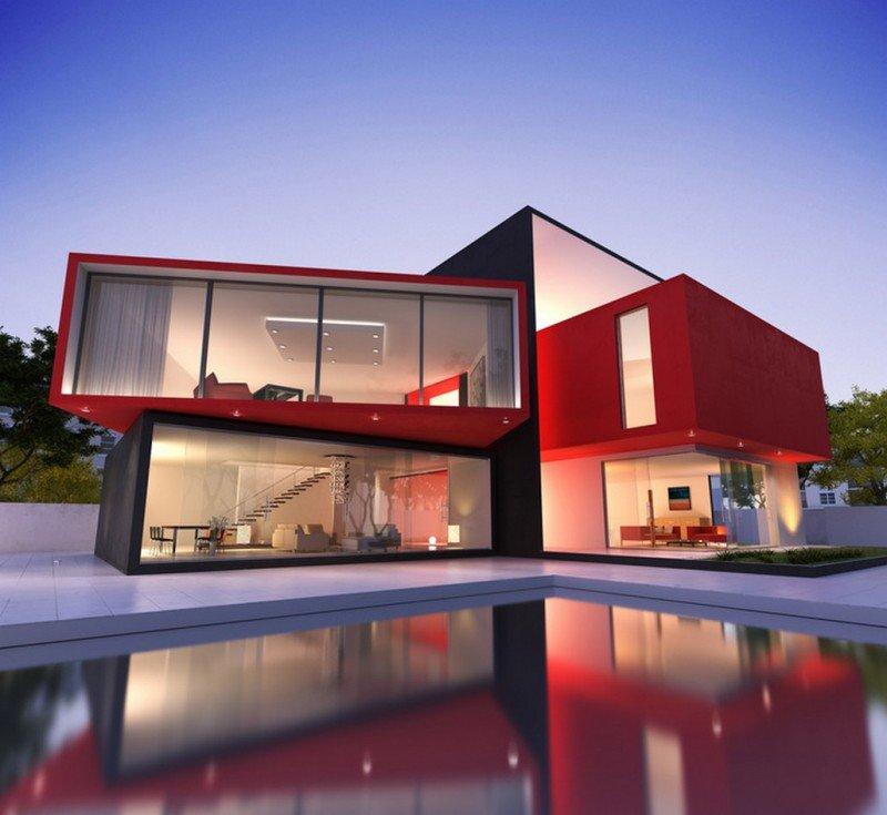 red exterior minimalist modern house design