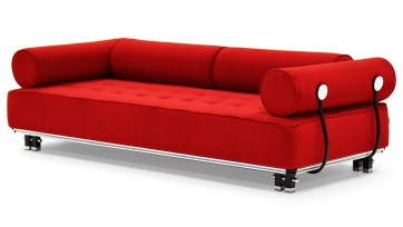 red sofa pillow and design