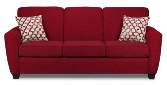 sofa red color with 3 seats and pillow
