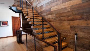 wall and stairs with recyle wood