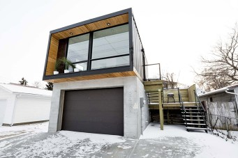 white color mix with wooden accent container house