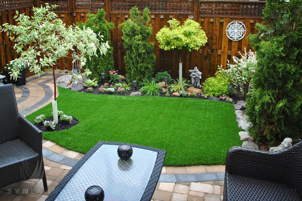 backyard patio and grass